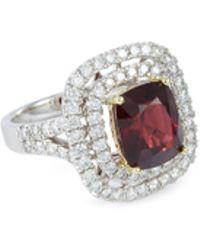 LC COLLECTION Diamond Spinel 18k White Gold Ring - Metallic