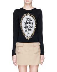 Alice + Olivia | 'marigold' Slogan Embellished Wool Sweater | Lyst