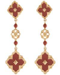 Buccellati 'opera Color' Jasper 18k Yellow Gold Link Drop Earrings - Metallic