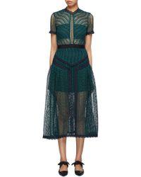 Self-Portrait - Wave Lace Midi Dress - Lyst