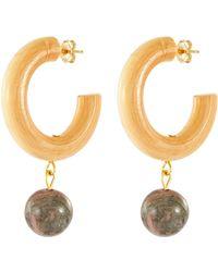 Sophie Monet 'the Storm' Rhodonite Bead Drop Wood Hoop Earrings - Metallic