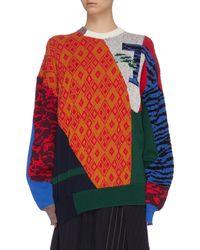 Toga Contrast Print Crew Neck Sweater - Multicolor