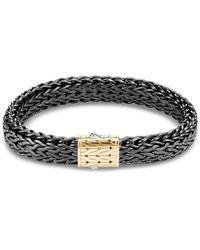 John Hardy - 'classic Chain' 18k Gold Silver Rhodium Small Bracelet - Lyst
