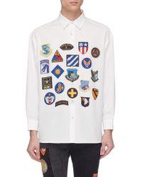 Children of the discordance Mix Badge Print Twill Shirt - White