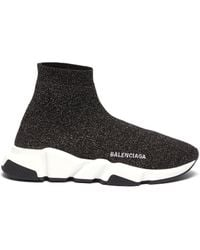 Balenciaga Speed Lt Lurex Knit Trainers - Black