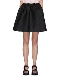 ShuShu/Tong Mini Bow Front Floral Embroidered Skirt - Black