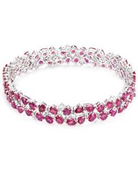 LC COLLECTION | Diamond Ruby 18k White Gold Bracelet | Lyst