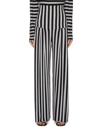 Norma Kamali Pleated Stripe Straight Leg Pants - Black