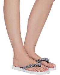 Uzurii Precious Bloom Iridescent Crystal Embellished Thong Sandals - White