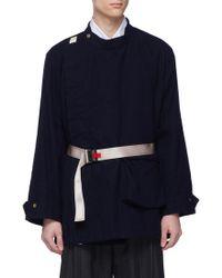 Digawel Belted Stand Collar Wool-blend Jacket - Blue