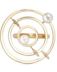 Phyne By Paige Novick - 'building Blocks' Diamond Pearl 18k Yellow Gold Ring - Lyst