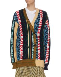 Toga Contrast Print Double Breasted Cardigan - Multicolor