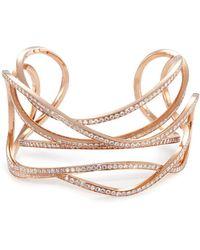 Dauphin - 'serpentine' Diamond 18k Rose Gold Cuff - Lyst