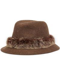 Eric Javits 'bunny' Rabbit Fur Trim Wool Felt Hat - Brown