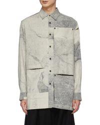 Ziggy Chen Peelable Details On Sleeve And Pocket Plant Shadow Print Long Sleeve Shirt - Grey