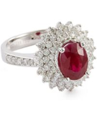 LC COLLECTION Diamond Ruby 18k White Gold Ring - Multicolour