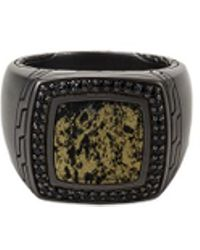 John Hardy - Sapphire Gold Silver Signet Ring - Lyst