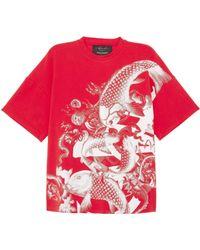 Angel Chen Koi Fish Graphic Print Unisex T-shirt - Red