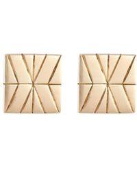 John Hardy - 18k Yellow Gold Silver Square Stud Earrings - Lyst