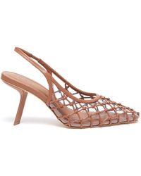 Cult Gaia 'soray' Leather Mesh Pvc Slingback Court Shoes - Brown