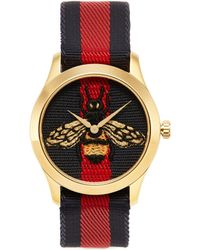 Gucci - 'le Marché Des Merveilles' Bee Embroidered 38mm Watch - Lyst