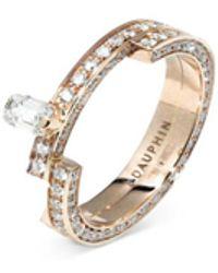 Dauphin 'disruptive' Pavé Diamond 18k Rose Gold Two Tier Ring - Metallic