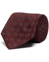 Isaia Grid Jacquard Silk Tie - Red