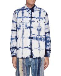 FDMTL Grided Tie Dye Cotton Oversized Shirt Men Clothing Shirts Grided Tie Dye Cotton Oversized Shirt - Blue