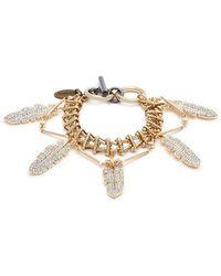 Venna - Glass Crystal Feather Charm Bracelet - Lyst