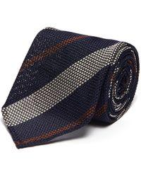 Lardini Striped Regimental Silk Tie - Blue