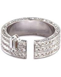 Dauphin 'disruptive' Diamond 18k White Gold Three Tier Open Ring - Metallic