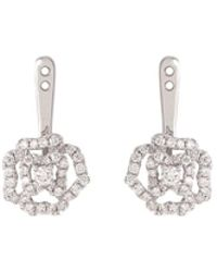 LC COLLECTION - Diamond 18k White Gold Rose Earring Jackets - Lyst