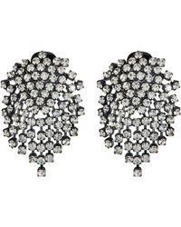 Kenneth Jay Lane - Glass Crystal Cluster Fringe Clip Earrings - Lyst