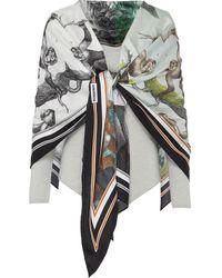 Burberry Monkey Print Silk Scarf Detail Off-shoulder Bodysuit - Gray