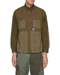 FDMTL Tonal Patchwork Snap Buttoned Nylon Shirt Men Clothing Shirts Tonal Patchwork Snap Buttoned Nylon Shirt - Brown