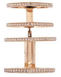 Repossi - 'antifer' Diamond Pavé 18k Rose Gold Four Row Linked Ring - Lyst