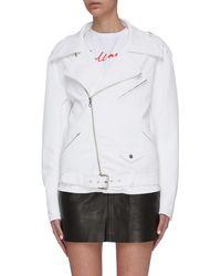J Brand 'shelly' Belted Oversized Moto Denim Jacket - White