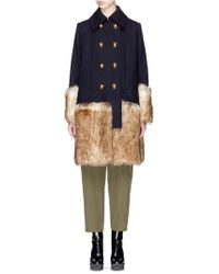 Sacai Faux Fur Trim Wool Melton Coat - Blue