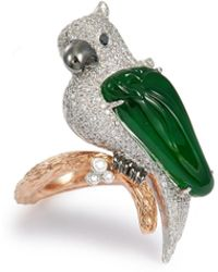 LC COLLECTION - Diamond Jade 18k Gold Parrot Ring - Lyst
