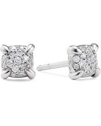 David Yurman 'precious Châtelaine' Diamond 18k White Gold Stud Earrings - Metallic