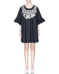 Xiao Li - Necklace Print Ruffle Sleeve Oversized Dress - Lyst