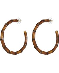 Kenneth Jay Lane - Enamel Bamboo Stem Hoop Earrings - Lyst