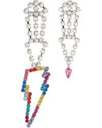 Joomi Lim Glass Crystal Lightning Bolt Drop Mismatched Earrings