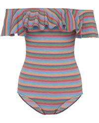 Lisa Marie Fernandez - 'mira' Flounce Stripe Off-shoulder One-piece Swimsuit - Lyst