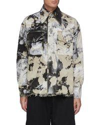 Angel Chen Oversized Tie Dye Print Fray Hem Denim Shirt - Multicolour