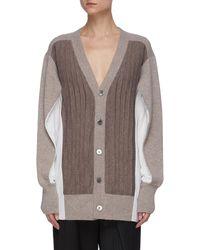 The Keiji Panelled Cape Sleeve V-neck Cardigan - Multicolour