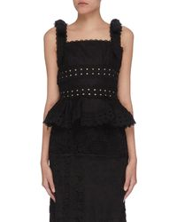 Zimmermann 'kirra' Tie Shoulder Ruffle Lace Crop Top - Black