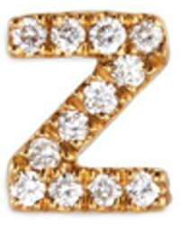 Loquet London - Diamond 18k Yellow Gold Letter Charm – Z - Lyst