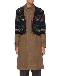 Kolor Striped Cardigan Overlay Glen Check Long Coat - Multicolor