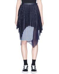 Facetasm - Pleated Overlay Gingham Check Skirt - Lyst